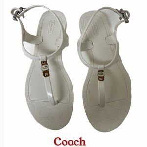 Coach Piccadilly Jelly Thong Sandals White…